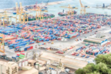 Fond défocalisé du port de Barcelone, Catalogne, Espagne. Post-production intentionnellement floue pour l'effet bokeh Banque d'images