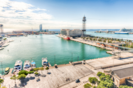 Defocused background with view of Port Vell, Barcelona, Catalonia, Spain. Intentionally blurred post production for bokeh effect Banque d'images