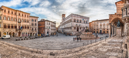 Panoramic view of Piazza IV Novembre, main square and masterpiece of medieval architecture in Perugia, Italy