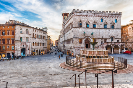 View of the scenic Piazza IV Novembre, main square and masterpiece of medieval architecture in Perugia, Italy