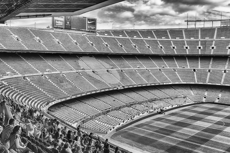 BARCELONA - AUGUST 11: Interior view of Camp Nou stadium, home of Barcelona Football Club, Catalonia, Spain, on August 11, 2017. With a seating capacity of 99,354 it is the largest stadium in Europe