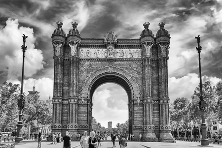 BARCELONA - AUGUST 8: Arc de Triomf, iconic triumphal arc and landmark in Barcelona, Catalonia, Spain, on August 8, 2017
