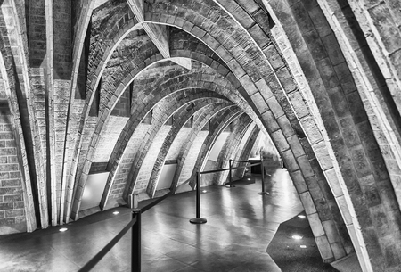 BARCELONA - AUGUST 9: Catenary arcs in the penthouse of Casa Mila, aka La Pedrera, renowned building designed by Antoni Gaudi and iconic landmark in Barcelona, Catalonia, Spain, on August 9, 2017 Editorial