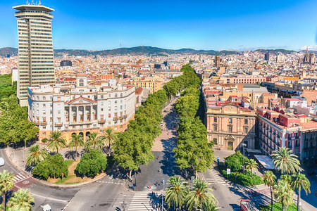 Scenic aerial view of La Rambla, tree-lined pedestrian mall and popular tourist sight in Barcelona, Catalonia, Spain Фото со стока