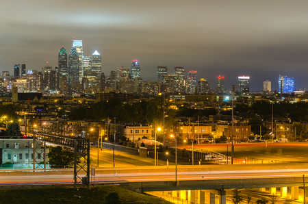 Philadelphia skyline at night as seen from the Stadium District, Pennsylvania, USA Stock Photo