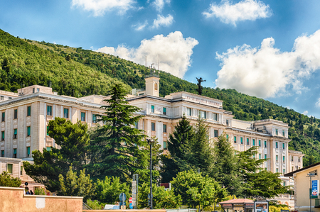 SAN GIOVANNI ROTONDO, ITALY - JUNE 10: Casa Sollievo della Sofferenza, private hospital founded in 1956 by Saint Pio of Pietrelcina, located in San Giovanni Rotondo, Italy, June 10, 2018 Redakční