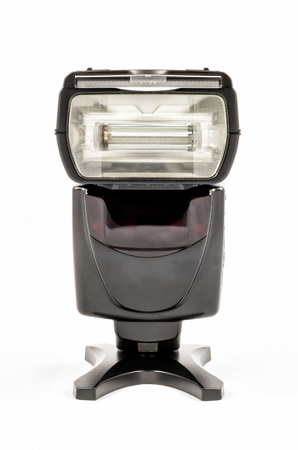 Front view of a black unbranded external flash unit for DSLR camera 写真素材 - 107421592