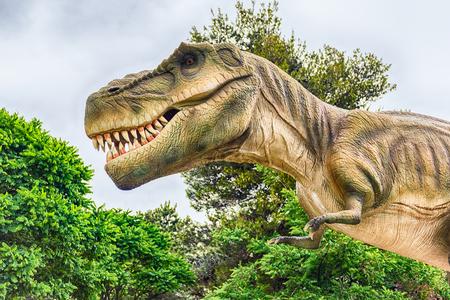 SAN MARCO IN LAMIS, ITALY - JUNE 9: Tyrannosaurus Rex dinosaur, aka t-rex, featured in the Dino Park in San Marco in Lamis, small town in southern Italy, June 9, 2018