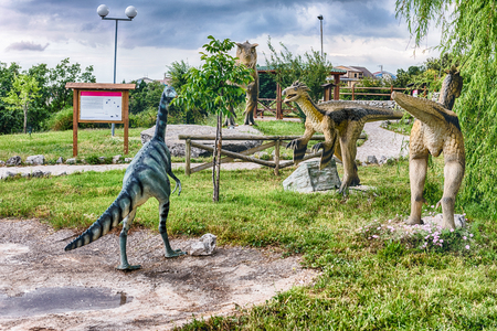 SAN MARCO IN LAMIS, ITALY - JUNE 9: Dinosaurs featured in the Dino Park in San Marco in Lamis, small town in southern Italy, June 9, 2018 Editorial