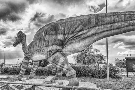SAN MARCO IN LAMIS, ITALY - JUNE 9: Lambeosaurus dinosaur, featured in the Dino Park in San Marco in Lamis, small town in southern Italy, June 9, 2018