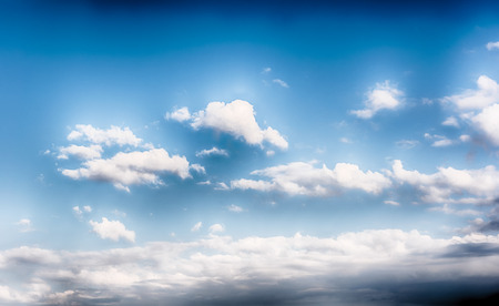 Dramatic blue sky with scenic clouds texture with copy space, may be used as background