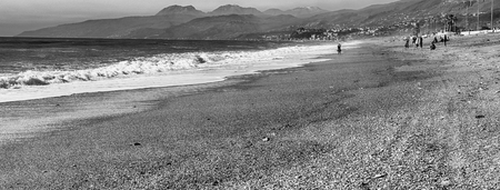 Landscape with a scenic sandy beach on the thyrrenian coastline in Calabria, Italy