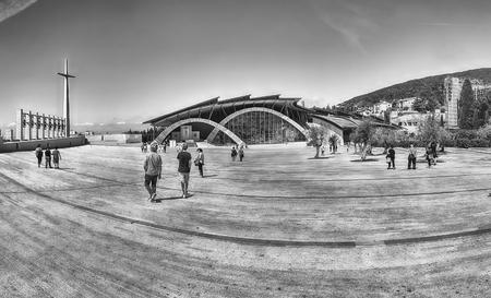 SAN GIOVANNI ROTONDO, ITALY - JUNE 10: Panoramic view with facade of the Sanctuary of Saint Pio of Pietrelcina, Catholic shrine designed by Renzo Piano in San Giovanni Rotondo, Italy, June 10, 2018