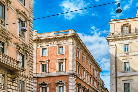 Ancient buildings in Via del Corso, main street in the city center of Rome, Italy Stockfoto