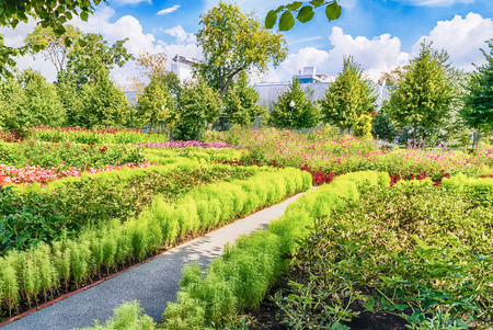 Idillic garden inside Gorky Park in central Moscow, Russia