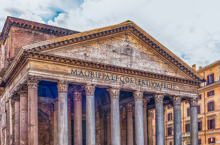 Facade of the Pantheon, iconic landmark which was formerly a Roman temple, now a church and one of the most visited sightseeing in Rome, Italy