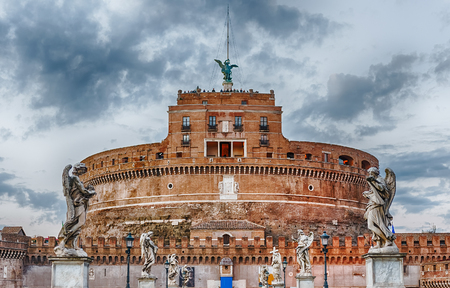 View over Castel SantAngelo in Rome, Italy. Aka Mausoleum of Hadrian, the building was used in the middle ages as a fortress and a castle by the popes