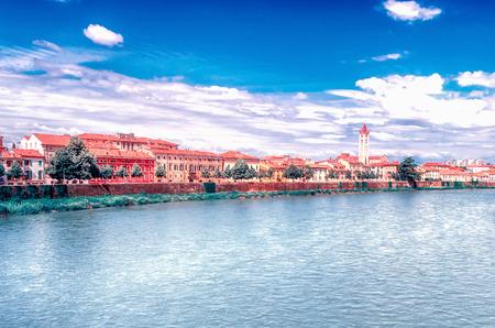 View Over Adige River in central Verona, Italy Stockfoto