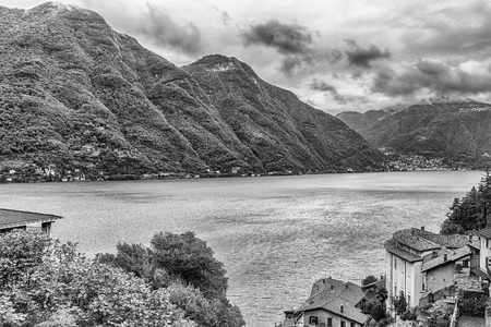 Scenic landscape over the Lake Como, as seen from the town of Bellano, Italy