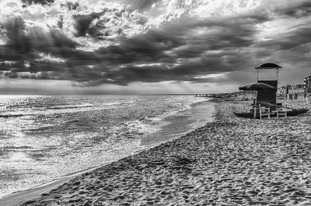 Landscape with a scenic sandy beach on the thyrrenian coastline in central Italy