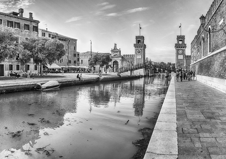 Panoramic view of the scenic entrance to the Venetian Arsenal, a complex of former shipyards and armories clustered together in the city of Venice, Italy