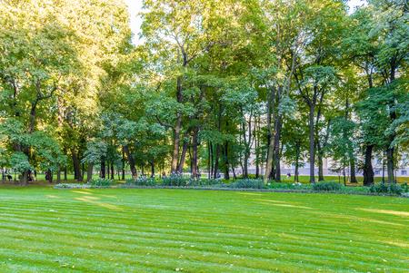 Inside Mikhailovsky Garden, idillic park in central St. Petersburg, Russia Stockfoto