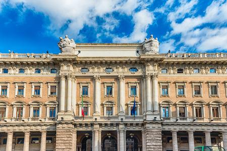 Facade of Galleria Alberto Sordi, iconic building and shopping arcade in Rome, Italy