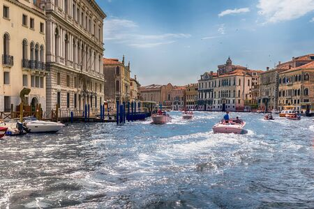 VENICE, ITALY - APRIL 29: Scenic architecture along the Grand Canal in San Marco district of Venice, Italy, April 29, 2018