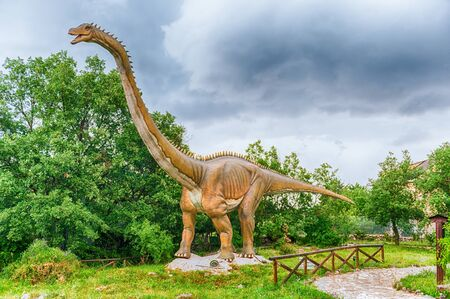 SAN MARCO IN LAMIS, ITALY - JUNE 9: Diplodocus dinosaur, featured in the Dino Park in San Marco in Lamis, small town in southern Italy, June 9, 2018