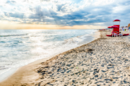 Defocused background of a scenic beach on the thyrrenian coastline in central Italy. Intentionally blurred post production for bokeh effect