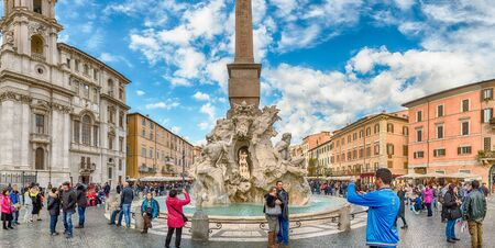ROME - NOVEMBER 18:  Panoramic view of the Fountain of the Four Rivers, iconic landmark designed in 1651 by Bernini, located in the famous Piazza Navona, Rome, Italy, November 18, 2018
