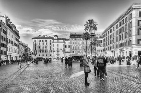 ROME - NOVEMBER 18: View of Piazza di Spagna, iconic square at the bottom of the Spanish Steps in Rome, Italy, as seen on November 18, 2018