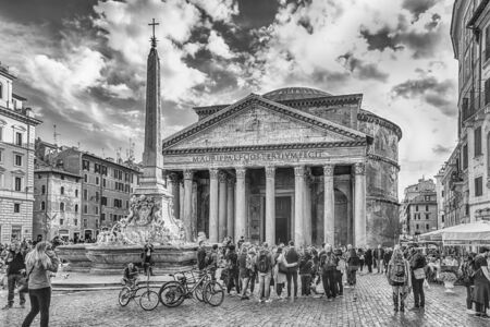 ROME - NOVEMBER 18: Facade of the Pantheon, iconic landmark which was formerly a Roman temple, now a church and one of the most visited sightseeing in Rome, Italy, November 18, 2018