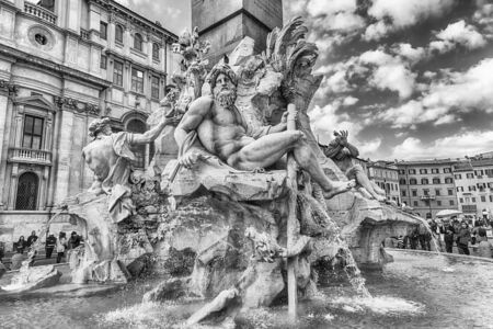 ROME - NOVEMBER 18:  The beautiful Fountain of the Four Rivers, iconic landmark designed in 1651 by Bernini, located in the famous Piazza Navona, Rome, Italy, November 18, 2018