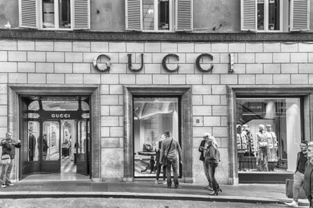 ROME - NOVEMBER 18: Gucci store in the famous Via Condotti, busy and fashionable street of Rome, Italy, as of November 18, 2018. The street contains the greatest number of Rome-based Italian fashion retailers, such as Bulgari, Dior among many others