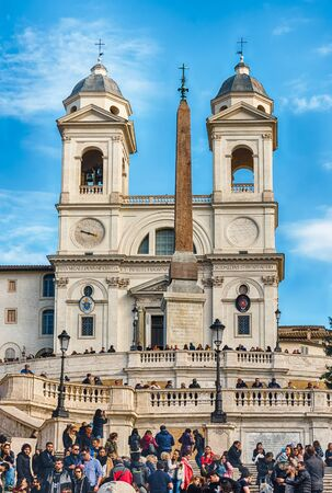 ROME - NOVEMBER 18: Church of Trinita dei Monti, iconic landmark at the top of the Spanish Steps in Piazza di Spagna, one of the most famous squares in Rome, Italy, November 18, 2018