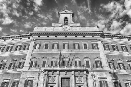 Facade of Palazzo Montecitorio, iconic building in central Rome, Italy, November 18, 2018. It is the seat of the Italian Chamber of Deputies