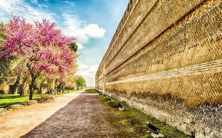 Historical walls inside the roman ruins of Villa Adriana (Hadrian's Villa), Tivoli, Italy