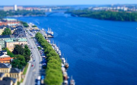 Panoramic View of Stockholm from City Hall Tower, Sweden. Tilt-shift effect applied 版權商用圖片