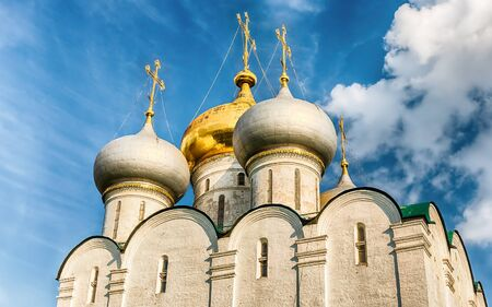 Orthodox church inside Novodevichy convent, iconic landmark and sightseeing in Moscow,