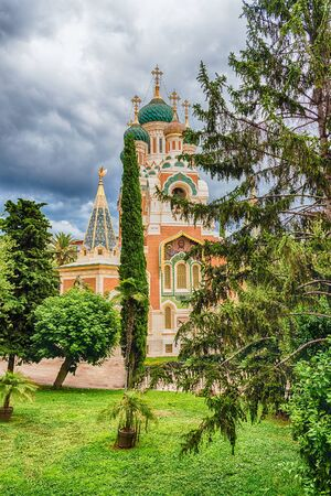 The iconic St Nicholas Orthodox Cathedral, one of the major landmark in Nice, Cote dAzur, France