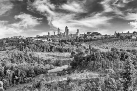 Scenic skyline in the medieval town of San Gimignano, iconic town in the province of Siena, and one of the most visited place in Tuscany, Italy