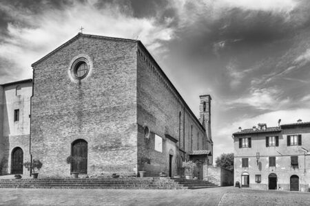 Church of SantAgostino, landmark in the medieval town of San Gimignano, Tuscany, Italy