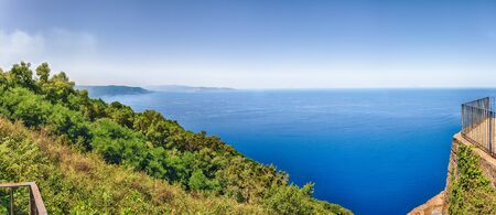 Panoramic aerial view of the Strait of Messina, between the eastern tip of Sicily and the western tip of Calabria in the south of Italy, as seen from the top of Mount SantElia, Palmi, Italy