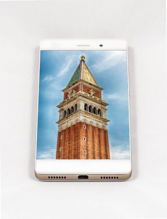 Modern smartphone with full screen picture of Venice, Italy. Concept for travel smartphone photography.