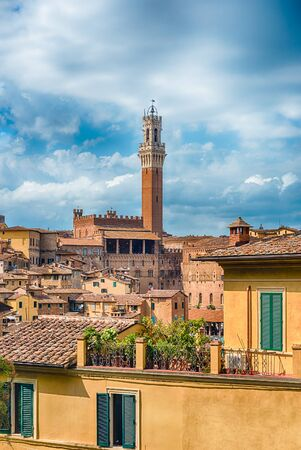 View over the picturesque city centre of Siena, one of the nations most visited tourist attractions in Italy