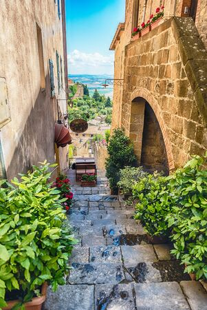 Medieval scenic streets in the town of Montalcino, province of Siena, Tuscany, Italy