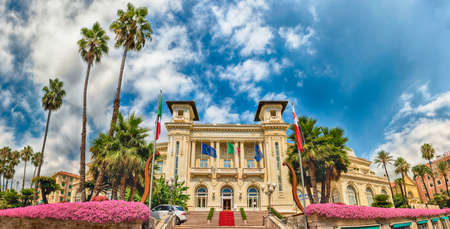 Facade of the scenic Sanremo Casino, Italy. The building is one of the main landmarks of the ligurian city