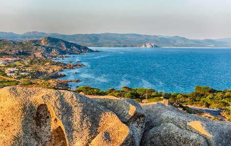 Scenic aerial view of Santa Reparata bay, near Santa Teresa Gallura, near the strait of Bonifacio, located on the northern tip of Sardinia, Italy