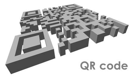 abbreviated: 3D QR code  abbreviated from Quick Response code  in perspective  Illustration